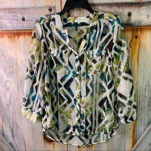 NWOT Maurices Sheer Button Down Blouse Medium